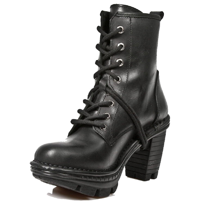 New Rock Damen Neotrail Schwarz Smart Gothic Rock Punk Leder SchnŸrstiefel  in Plain & Floral Patterned Leder: Amazon.de: Schuhe & Handtaschen