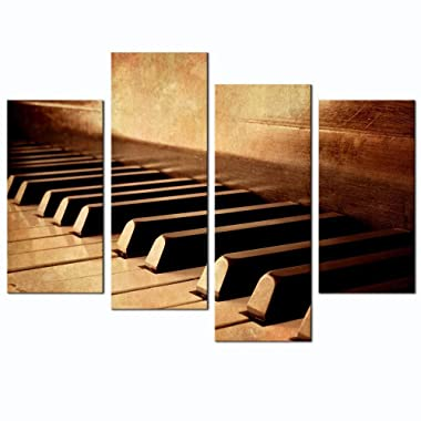 LevvArts - 4 Panels Wall Art Sepia Tone Piano Keys Pictures Print on Canvas Instrument Abstract Canvas Painting Giclee Print with Wood Frame,Modern Home Decor