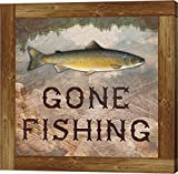 Gone Fishing Salmon Sign by Veruca Salt Canvas Art Wall Picture, Gallery Wrap, 24 x 24 inches