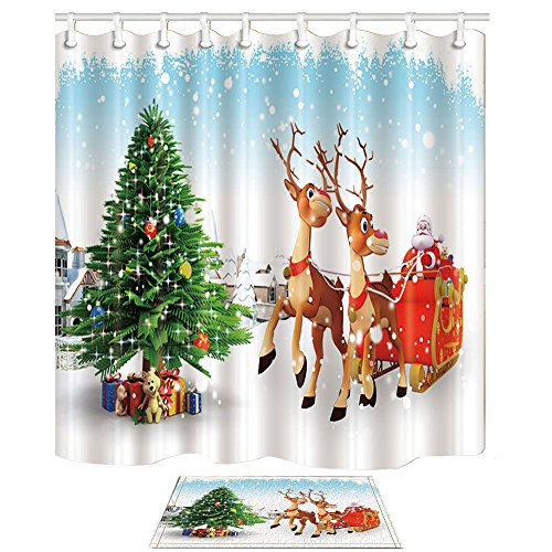 KOTOM Christmas Decor Cartoon Santa Claus Driving Reindeer Against House And Tree 69X70in Mildew Resistant Polyester Shower Curtain Suit With 157x236in