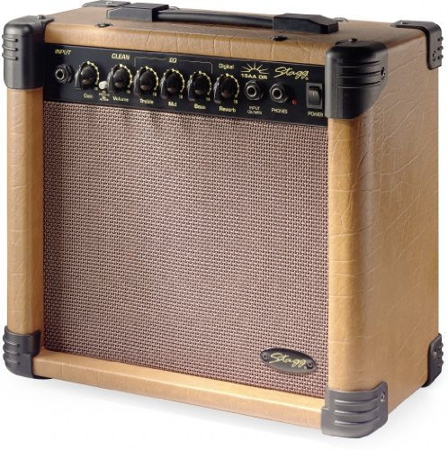 Stagg 15 AA DR USA 15-Watt Acoustic Guitar Amplifier with Digital Reverb (15w Bass Amp)