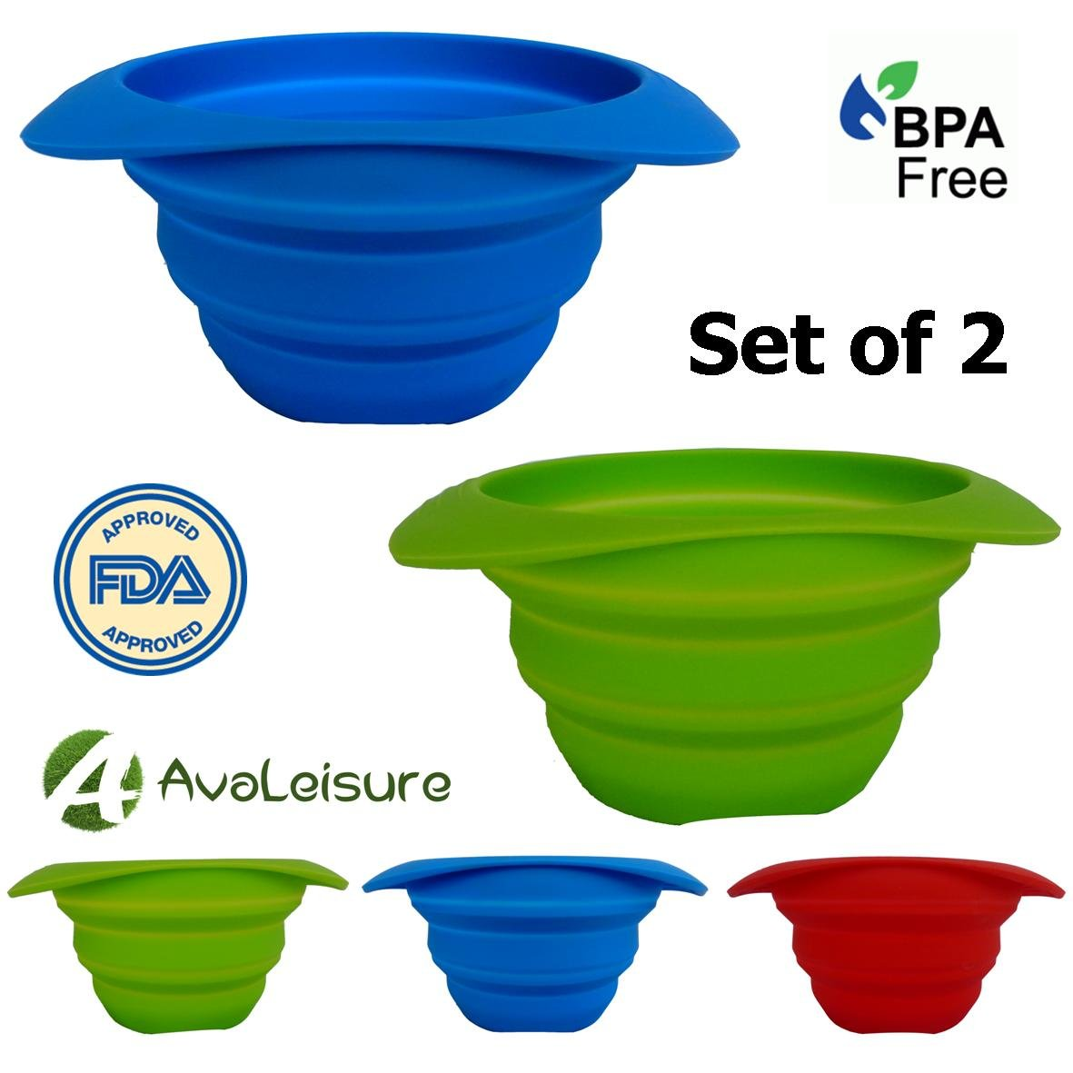 AVALEISURE COLLAPSIBLE BOWL - 25oz/750ml - Set of 2 Bowls or 1 Bowl With 4 Sporks - For Camping, RV, Backpacking, Mixing & Eating Camp Food – Ideal as a Dog Food & Water Bowl - BPA-Free, Space-saving