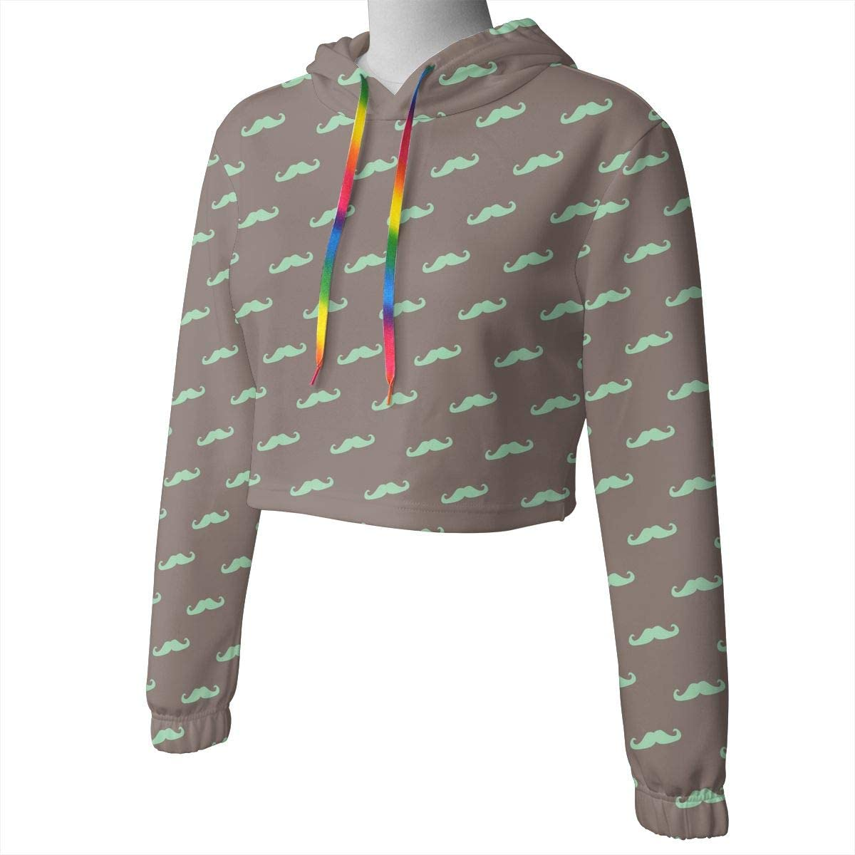 Mint Green Mustache Moustache Women Sweatshirt Casual Hoodie Tshirt T Hoodies Cropped Crop Tops