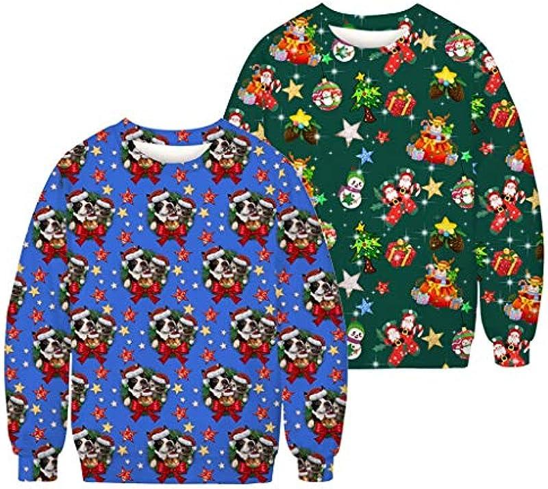 Writtian bluza bożonarodzeniowa, męska, zabawna, nowość, para, sweter, casual, okrągły dekolt, bluza jesień, zima, nadruk 3D, sweter bożonarodzeniowy, brzydkie bluzy, duże rozmiary