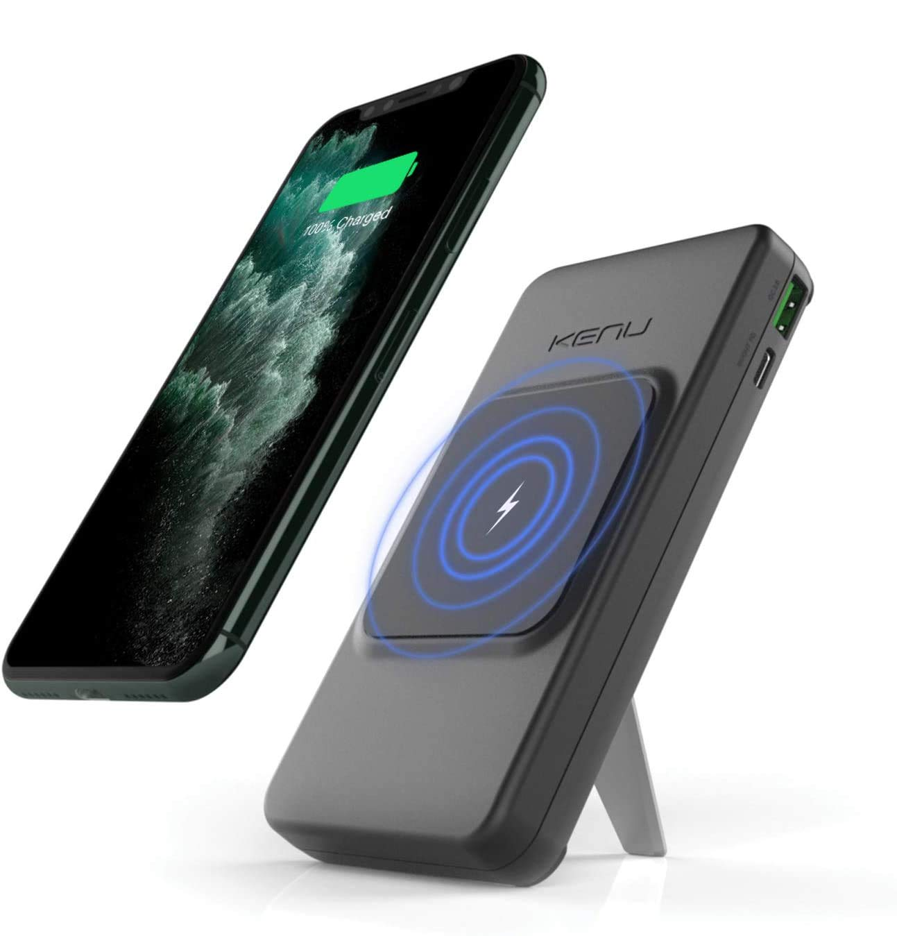 Kenu Bingebank Power Bank Wireless Charger + Kickstand | All Wireless Charging iPhones 12/11/X/8, Samsung and Pixel Phones.