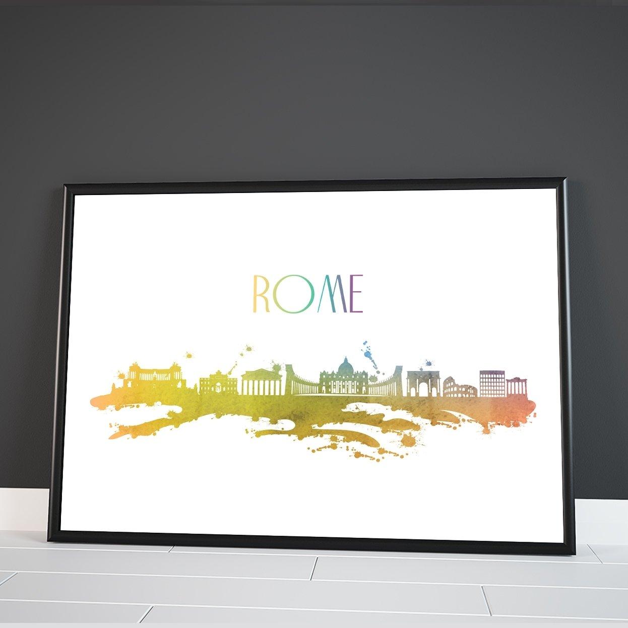 Inspired Walls Roma skyline di città del mondo Watercolour Colourful Wall Dã Cor poster stampa artistica Inspired Walls®