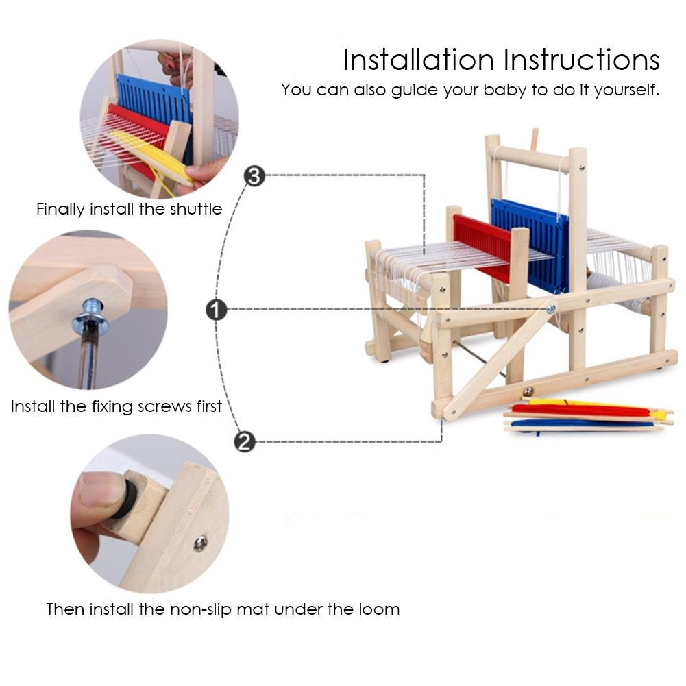 Loom Wooden Weaving Toy With Accessories Samber Rainbow Diagram Children Diy Toys Educational Hand Knitting Baby