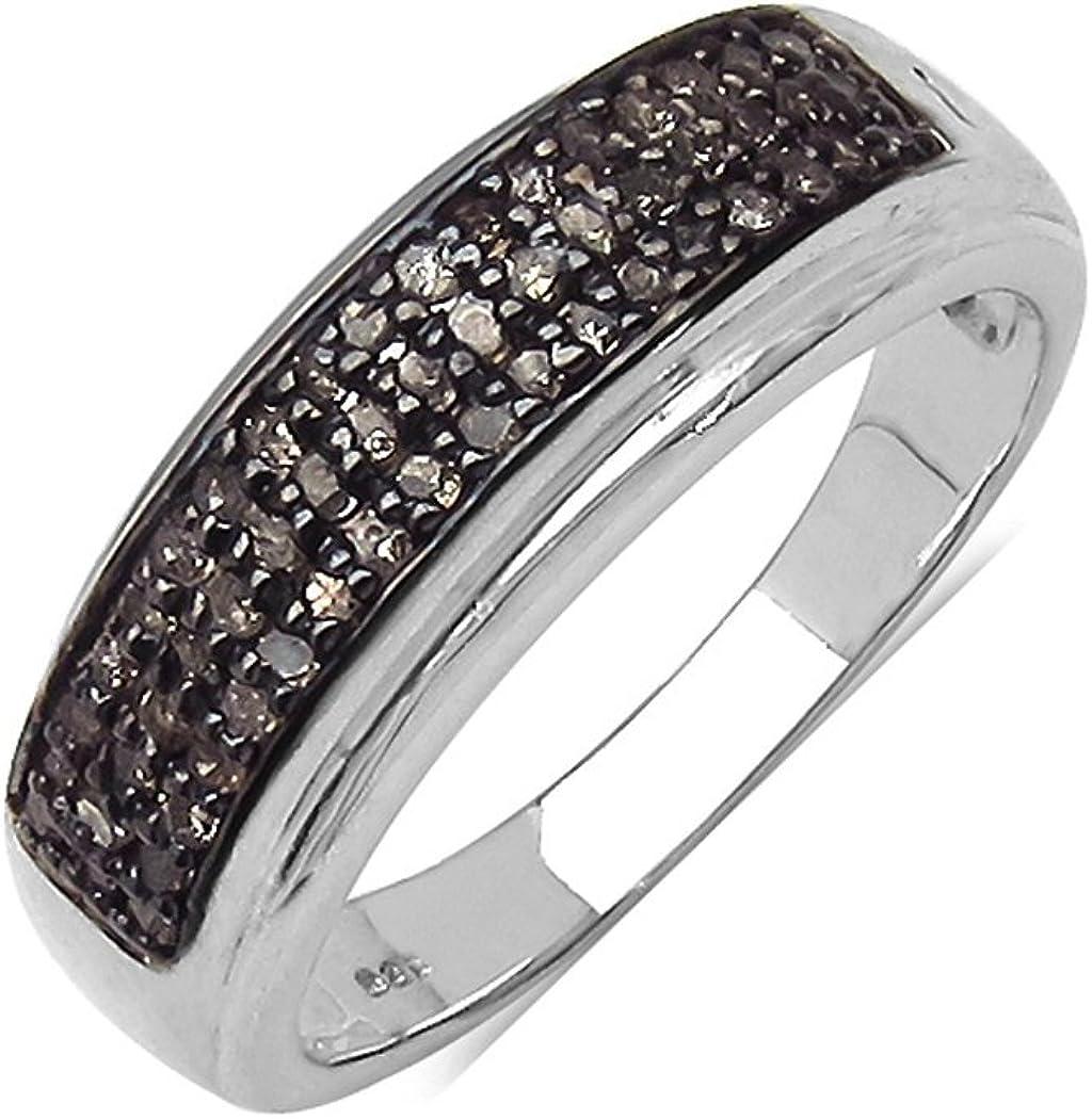 Silvancé - Anillo de mujer - plata esterlina 925 bañada en rodio - auténtico piedras preciosas: Champagne Diamond ca. 0.29ct. - R4876CHD