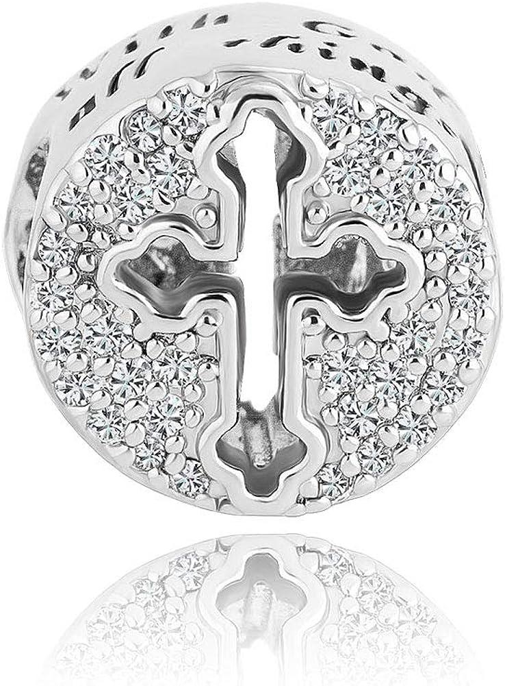 en anglais Korliya Breloque avec croix et extrait de la Bible pour bracelet europ/éen