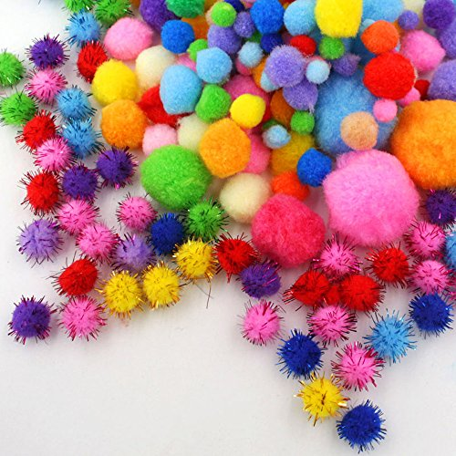 HEHALI 1600pcs Pom Poms Set,Including 1500pcs Pom Poms Craft Assorted Sizes and Colors with 100pcs Wiggle Googly Eyes for Hobby Supplies and Creative Craft DIY Material (1600 pcs)