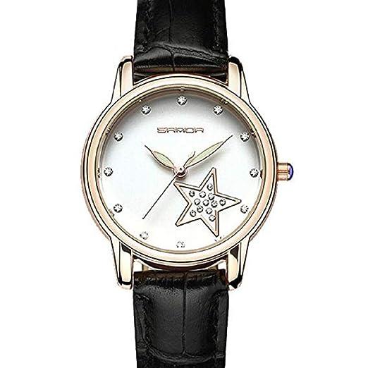 Scpink Relojes de Cuarzo para Mujer, Estrella de Diamantes de imitación, Análogo de la Moda, Relojes de Dama, Relojes de Pulsera para Mujer, Reloj de Cuero ...