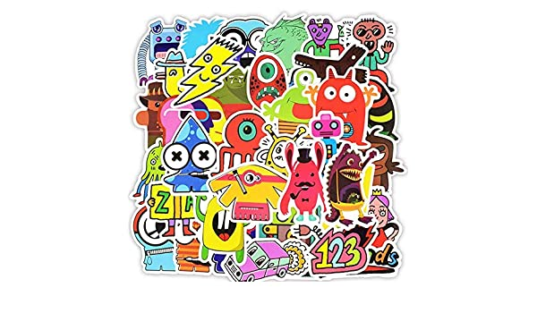 GYYNR Doodle Stickers Funny Little Monster Robot Sticker ...