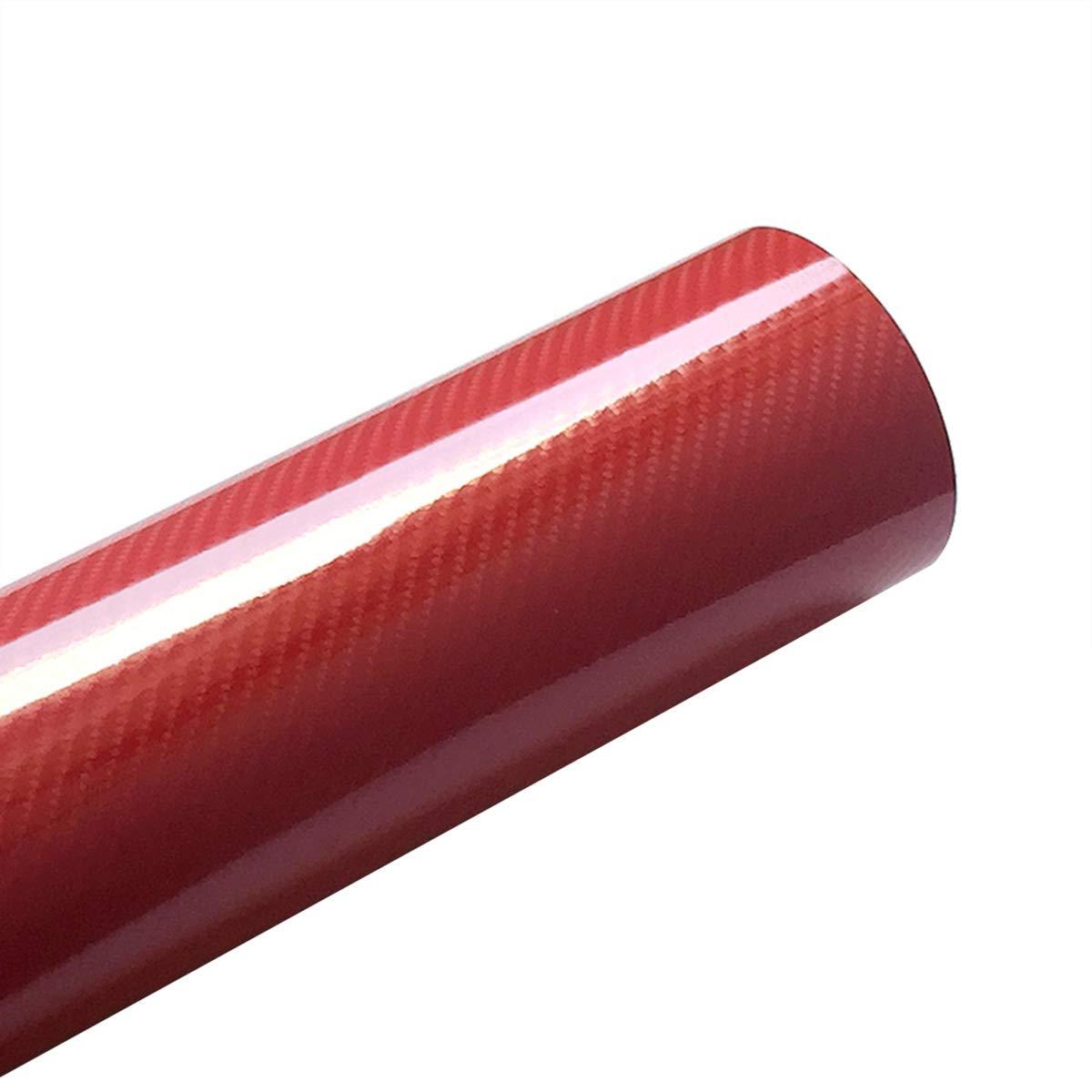 LKXHarleya 30x100cm 5D Alta Lucido in Fibra di Carbonio Pellicola Avvolgente in Vinile con Bolla dAria Libera per La Decorazione Interna dellautomobile Rosso