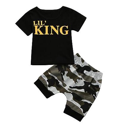 Conjuntos bebé Niño ❤️ Amlaiworld Recién nacido Niño pequeño niños bebés camiseta Tops Camisas y pantalones cortos de camuflaje Conjunto de ...