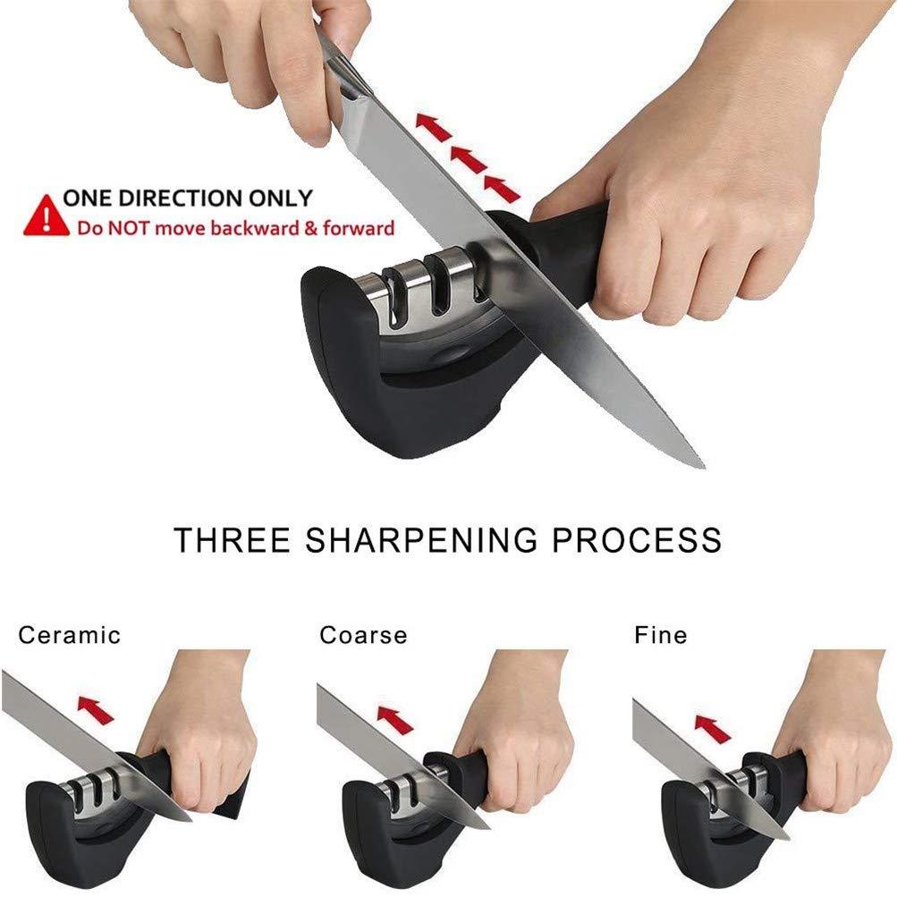 SXYHKJ Afilador de Cuchillos, 3 Pasos Sistema Manual de Cocina, Esmeril, Acero de Tungsteno y Cerámica para Cuchillos Domésticos de Varios Tamaños ...
