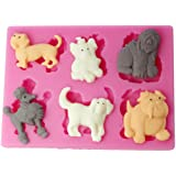 FOUR-C Silicone Cake Mold Pets Dogs Cake Embossing Mould Color Pink