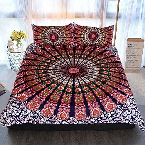 Gypsy Bedding (Sleepwish Boho Chic Mandala on Red White Green Bohemian Gypsy Quilt Cover Hippy Mandala Bedding Set for Bedroom (Twin))