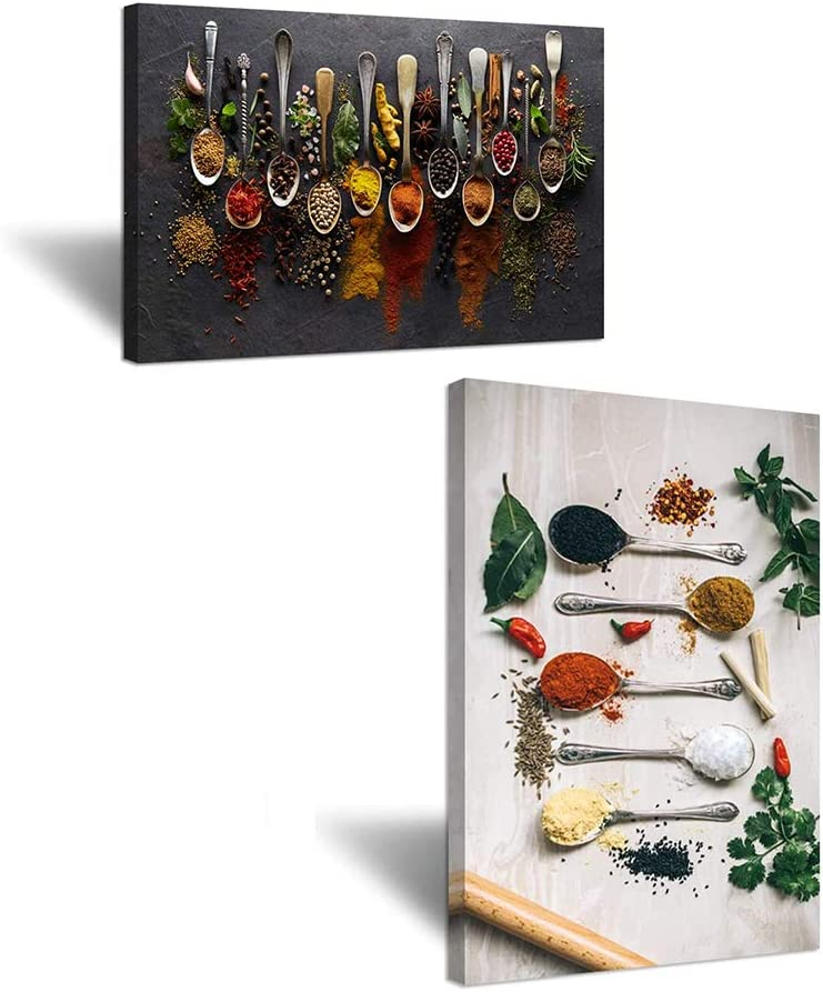 iHAPPYWALL Large Kitchen Pictures Wall Decor Couful Spice in Spoon Vintage Canvas Wall Art Food Photos Painting On Canvas Stretched and Framed for Home Decoration Gift Ready to Hang 24x36inch