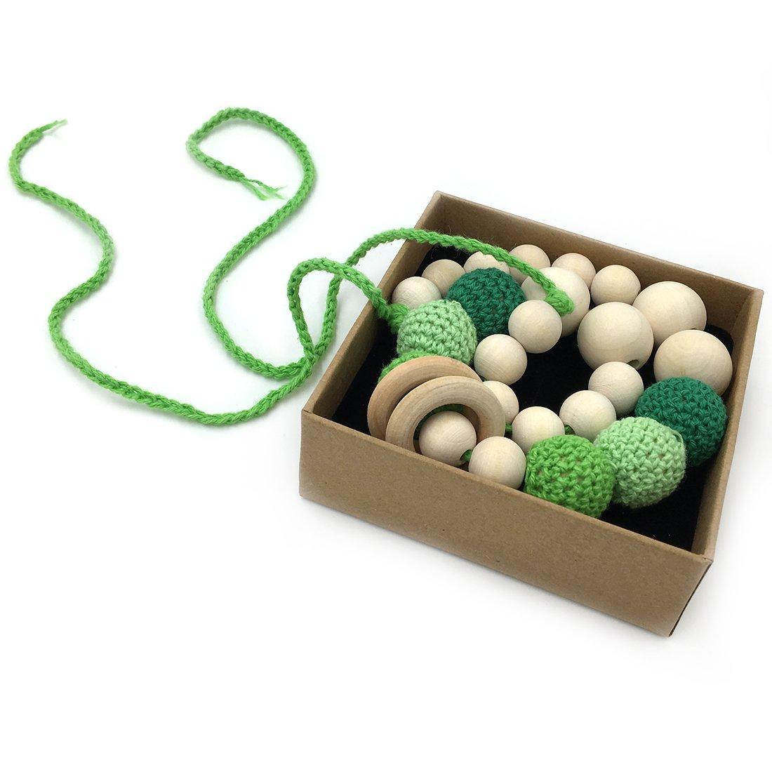 Coskiss Verde Collares de ganchillo Collar de dientes de beb/é Collar de dentici/ón seguro con juguete de madera hecho a mano natural org/ánica Mam/á Collar de dientes de madera para ni/ños Verde