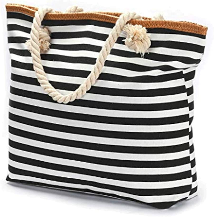 Bolsa de Playa Extragrande con Forro Interior Impermeable y Asas de Cuerda (Rayas Blancas y Negras): Amazon.es: Equipaje