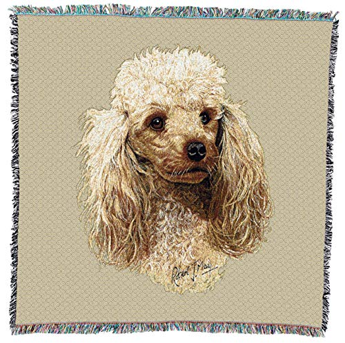 1940's Cream - Pure Country Weavers - Poodle Cream Woven Throw Blanket with Fringe Cotton. USA Size 54x54