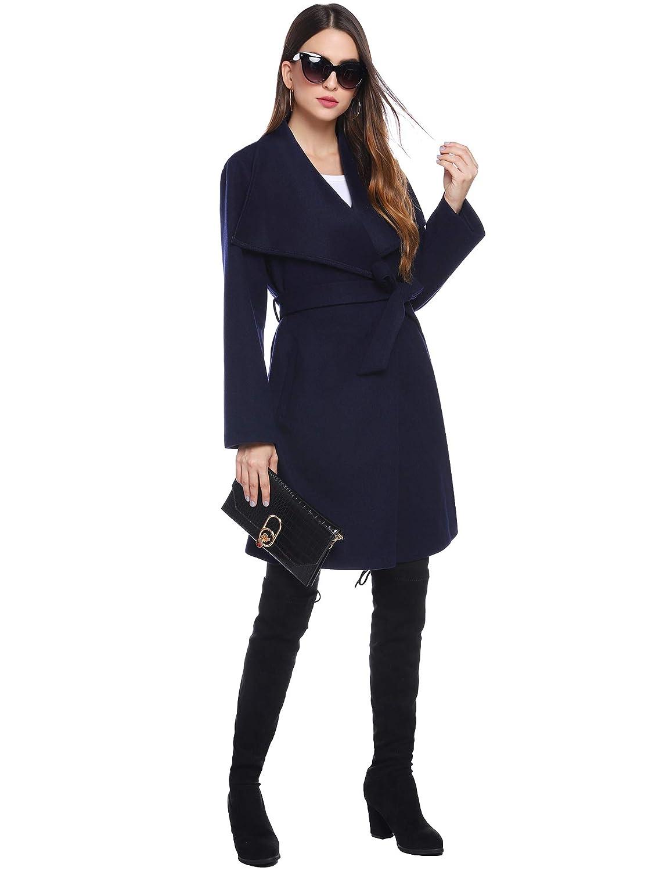 iClosam Giacca da Cappotto Lunga Invernale da Donna con Cravatta Spessa Davanti e Cintura
