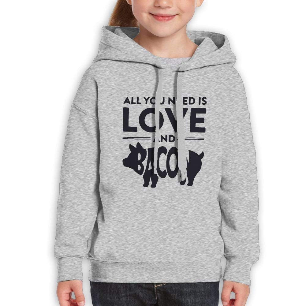 All You Need is Love and Bacon Kids Cotton Pullover Hood Hoodie Sweatshirt
