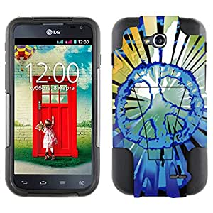 LG Optimus L90 Hybrid Case Multi Green Peace on Black 2 Piece Style Silicone Case Cover with Stand forLG Optimus L90