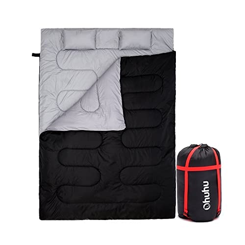 Ohuhu Double Sleeping Bag, 220 x 150cm 3 Season Huge Double Sleeping Bag with 2 Free Pillows and a Carrying Bag, Four Double Zipper Pullers (Black)