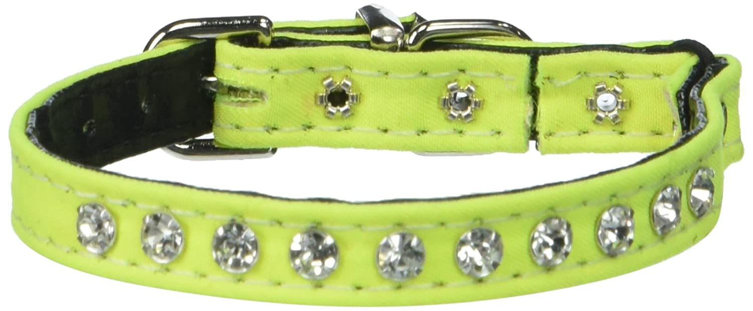 Neon Yellow Size 10 Neon Yellow Size 10 Evans Collars Jeweled Cat Safety Collar with Elastic, Size 10, Solid Cotton, Neon Yellow