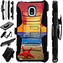 For Samsung Galaxy J3 (2018) | Samsung Galaxy J3 Orbit | Samsung Galaxy Express Prime 3 Case Armor Hybrid Phone Cover Kick Stand LuxGuard Holster (Sunset Beach)