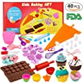 Kids Cooking Baking set-40 pcs include Silicone Chocolate Molds,Cupcake cups,Cake decorating kit,Cookie Cutters,Measuring Spoons,Rolling Pin,Spatula,Whisk for Children 5+ Years by Barley