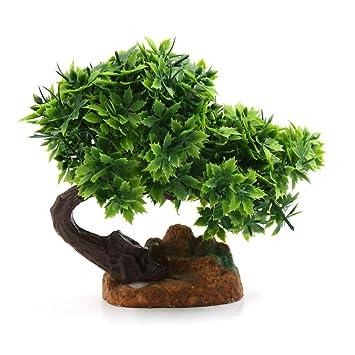 sourcing map Planta de decoración DE 6,7 Pulgadas Altura de plástico Verde Hierba árbol Pecera Paisaje: Amazon.es: Productos para mascotas