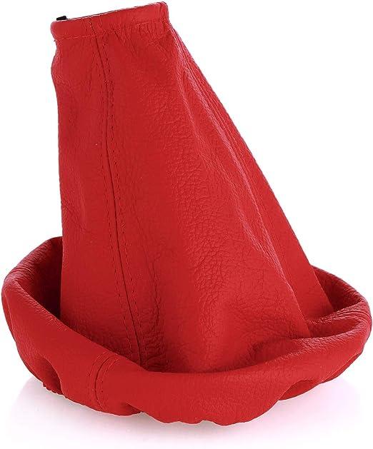 Schaltmanschette Schaltsack Sack Schwarz Faden Rot Echt Leder myshopx SA79
