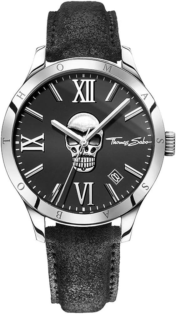 Thomas Sabo Hombre Reloj de Pulsera Rebel at Heart–Icon Skull analógico de Cuarzo Piel wa0210–218–203–43mm