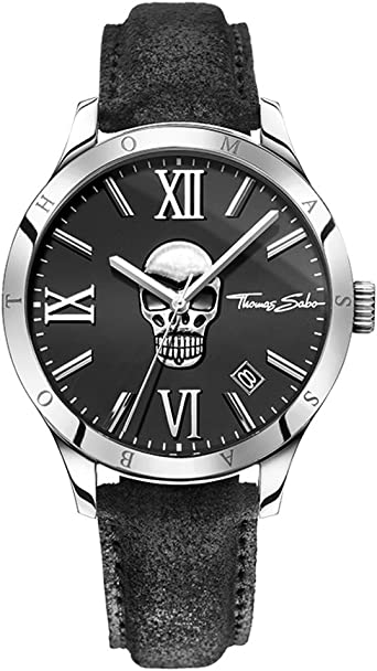 Orologio rebel at heart - icon leather skull analogico al quarzo wa0210-218-203-43 mm