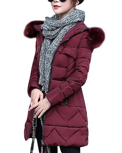 Mujer Abrigo Chaqueta Slim Fit Plumas Cuello Espesado Capucha Encapuchado