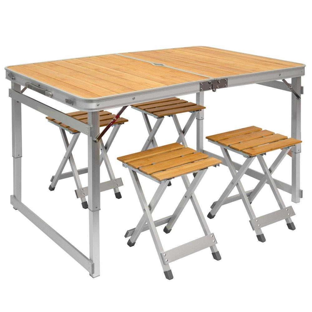 Tavolino da campeggio regolabile in altezza   Tavolo + 4 Sgabelli ...