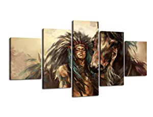 Ancient Native American Wall Art Decor 5 Piece Retro Indian Chief Poster Painting on Canvas Mystic Picture Print Artwork Framed for Living Room Bedroom Home Giclee Stretched Ready to Hang(60''Wx32''H)