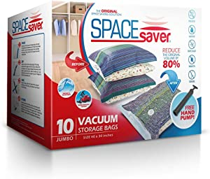 Spacesaver Premium Vacuum Storage Bags | Works with Any Vacuum Cleaner | No Mold, Mildew, or Bacteria! - Lifetime Replacement Guarantee & Free Hand-Pump for Travel (Jumbo 10 Pack (40 x 30 Inches)) (Renewed)