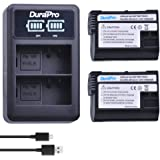 DuraPro 2Packs 1900mAh EN-EL15 EN-EL15A Camera Battery + LED Dual USB Battery Charger Set for Nikon D7100, D750, D7000, D7200, D500, D810, D610, D800, D600, D800e, D810a, 1v1 Cameras