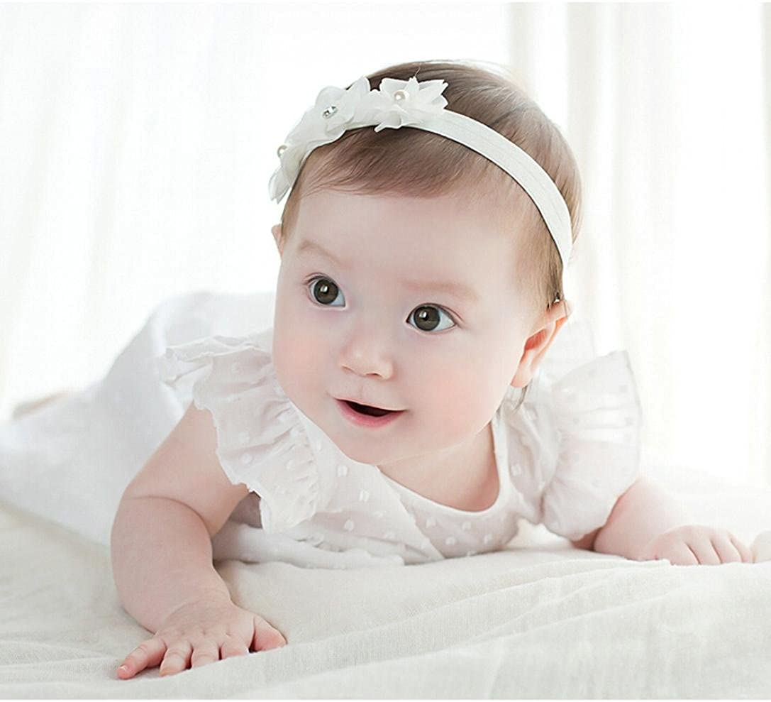 Haar-Zusätze Spitze-Haar-Band Baby-Stirnband Schleife Perle Kopfbedeckungen