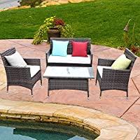 Do4U 4 Pcs Rattan Outdoor Patio Furniture Set Garden Lawn...