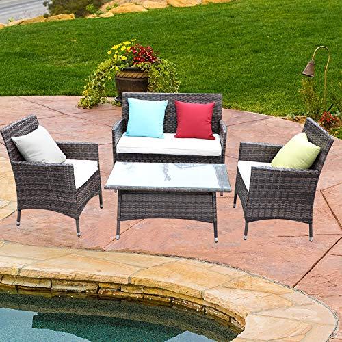 Do4U 4 Pcs Rattan Outdoor Patio Furniture Set Garden Lawn Pool Backyard Sofa Chairs Conversation Set Table (MIX-9027) from Do4U