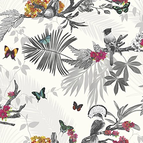 Arthouse, Mystical Forest White Multi Wallpaper, Birds And Plants Natural Home Décor ()