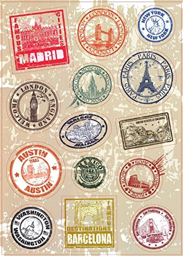 T&B 2PCS Multi Countries Retro Vintage Landmark Monument Travel Airline Plane Patterns Stickers Luggage Suitcase Laptop Waterproof Stickers Children's Room Decor Labels A4#6