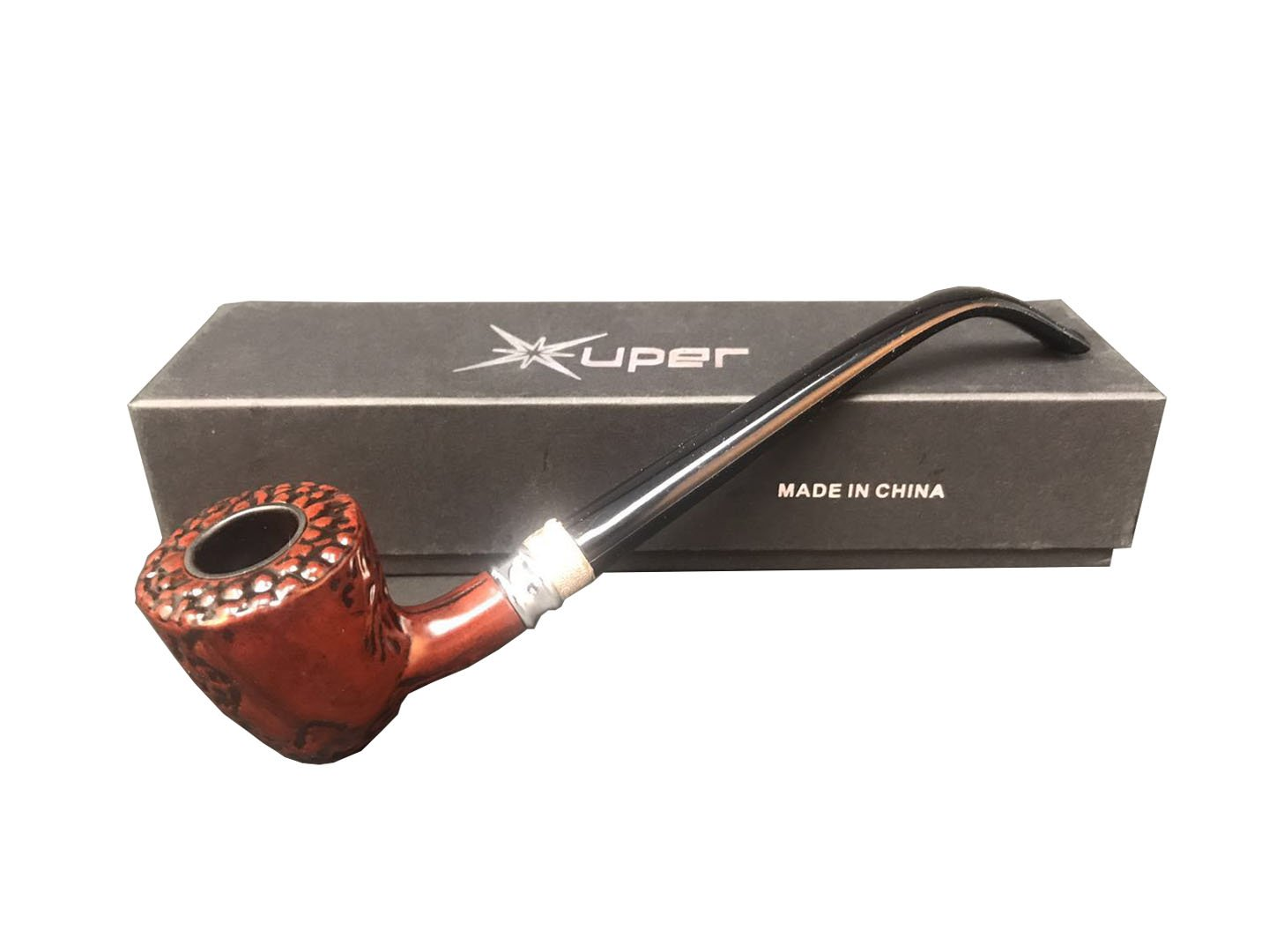 Long Wood Tobacco Pipe D12 Clearly Colors and Textures Pipe and Travel Case