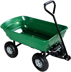 Green Heavy Duty Rolling Garden Dump Cart Utility Dumper Wagon Carrier Wheelbarrow Carrier 10