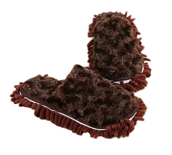 Peluche Épaissir chaussons nettoyage Pieds pantoufles floue Longueur 24.5 cm -07 ToclT