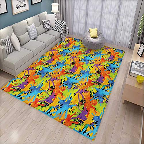 Funky Girls Quilt Rug - Abstract Anti-Skid Rugs Contemporary Style Color Splashes Vibrant Trippy Watercolor Palette Artisan Funky Girls Rooms Kids Rooms Nursery Decor Mats 5'x8' Multicolor
